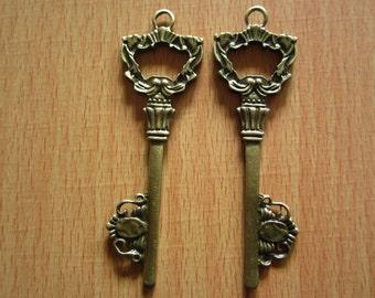 10pcs 73x22mm antique bronze key charms pendant R25200