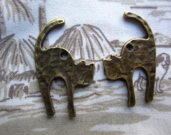 40pcs 26x18mm antique bronze long tail cat charms pendant R20898