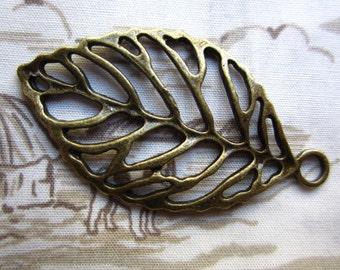 10pcs 44x26mm antique bronze leaf charms pendant R21119