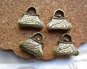 40pcs 15x14mm antique bronze bag charms pendant R20895