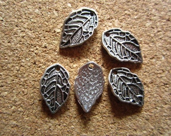 50pcs 16x10mm antique silver leaf charms pendant R14593
