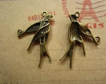 30pcs 30x18mm antique bronze swallow bird charms pendant R24005