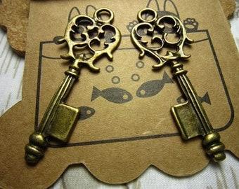 20pcs 43x17mm antique bronze key charms pendant R21115