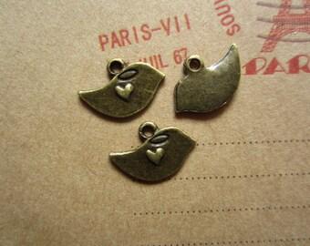 30pcs 15x10mm antique bronze bird charms pendant R24179