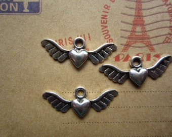 50pcs 28x10mm antique silver fly love wing flyer charms pendant R23722
