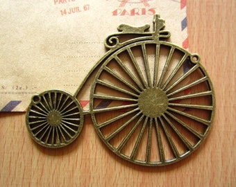 3pcs 75x60mm antique bronze  bicycle bike charms pendant C2400