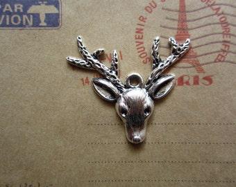 10pcs 33x31mm antique silver deer animal charms pendant B375