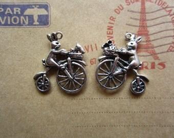 10pcs 24x23mm antique silver rabbit  bicycle bike charms pendant B404