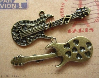 10pcs 55x18mm antique bronze guitar charms pendant C2176