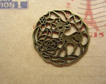 10pcs 33mm antique bronze deer animal charms pendant C2133