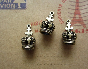 10pcs 18x7mm antique bronze crown charms pendant R17408