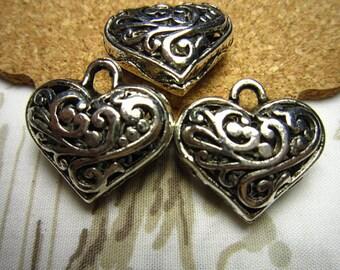 10pcs 20x20mm antique silver 3D love heart charms pendant R20480