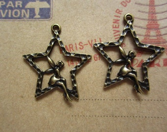10pcs 29x25mm antique bronze angel charms pendant C2896