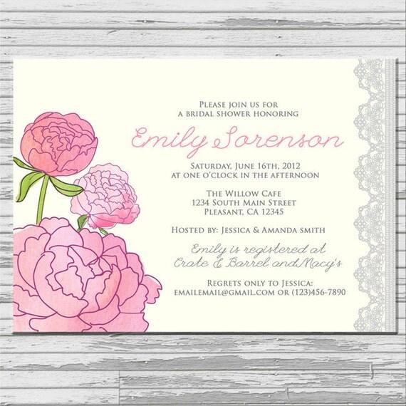 Peonies Flower Bridal Shower Invitation - customized 5x7 printable ...