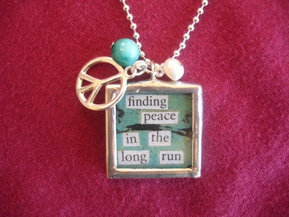 runners jewelry, runners necklace, soldered art glass pendant