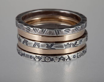 5 Band Stack Rings in Patterned Oxidized Silver and Gold