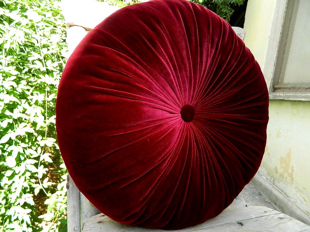 The color of red wine silk velvet round pillow by originalboutique