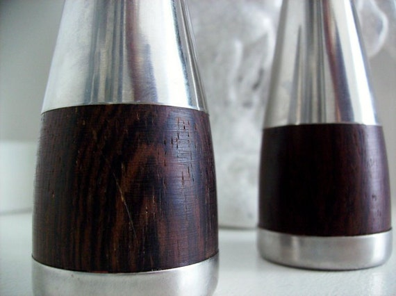 Mid Century Modern Danish Salt and Pepper Shakers - Stainless and Rosewood