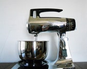 Chrome Sunbeam Mixmaster Stand Mixer - Two Polished Stainless Steel Bowls - 1960s