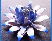 """Vintage Huge Blue & White Enamel Rhinestone Tiered FLOWER BROOCH or Pin 3"""" EX"""