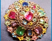 "ART DECO Colorful Fruit Salad Rhinestone & Enamel Gold Metal Flower Pin or Brooch 2 1/4"" EX"