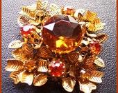 "Vintage AUSTRIA Amber & Topaz Rhinestone Tiered Flower Cluster Brooch or Pin 2"" EX"