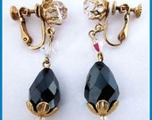 "Vintage Long Dangle Crystal Black & White Gold Metal Clip On Earrings 2"" EX"