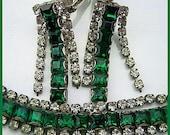 Reserved for Rexitin: Art Deco Bracelet Earring Demi Set Clear Green Rhinestones & Silver Metal