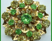 "Vintage Rhinestone Brooch or Pin w Lime Green & Yellow Stones Gold Metal Flower Motif Jewelry 2"" EX"