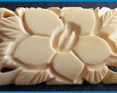 "Victorian Brooch or Pin Antique BONE IVORY Carved Flower Motif  C Clasp 2"" EX"