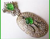 """Green Rhinestone Brooch Vintage Art Deco Style w Silver Metal BIG & OLD 3 1/4""""  EX"""