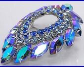 "Vintage Juliana Brooch Pin Delizza & Elster Sarah Coventry Blue Lagoon Rhinestone Silver 2 3/4"""