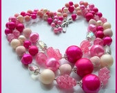 "Vintage 1950s Beaded Necklace w Pink Glass Givre Stones Multi Strand CHUNKY 18"" EX"