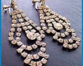 "Vintage Rhinestone Earrings w Clear Glass & Silver Metal Screw Back Style HUGE Bridal Wedding 3"" EX"