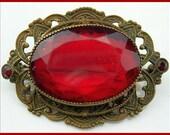 "Victorian Brooch Pin w HUGE Red Glass Rhinestone & Gold Antiqued Metal Vintage Old 2"" VG"