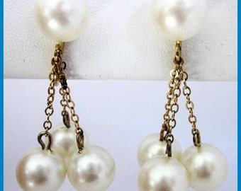 Dangle Earrings White Faux Pearl Bead Trio Gold Metal Clip On Style Bride Wedding 1.5 in Vintage