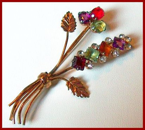 """Vintage CORO CRAFT Sterling Fruit Salad Colorful Floral Motif Brooch or Pin 3"""" EX"""