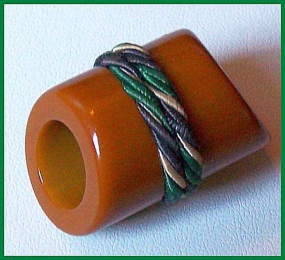 Vintage Asian Style Bakelite Carmel Color Sash Button & Braided Cord Trim EX