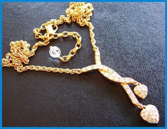 Swarovski Vintage Necklace Pendant Crystal Rhinestone Gold Metal Heart Dangles Swan Logo