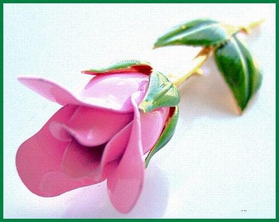 "Vintage Rose Pin or Brooch w Pink & Green Enamel Paint Gold Metal BIG 3"" EX"