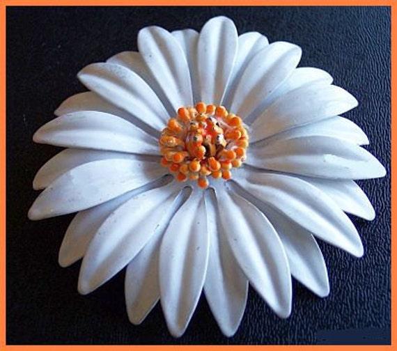 "Vintage Flower Brooch Pin w White Orange Enamel & Layered Petals Signed BED 3.5"" EX"