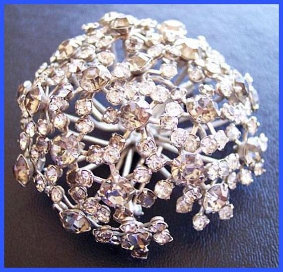 """Vintage Signed WARNER Brooch Pin Huge 3D Flower Cluster w Rhinestones & Silver Metal 2.5"""" EX"""