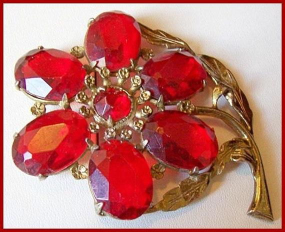 "Vintage LITTLE NEMO 50 Brooch Pin Flower Red Rhinestones Open Back Gold Metal Huge 4"" VG"