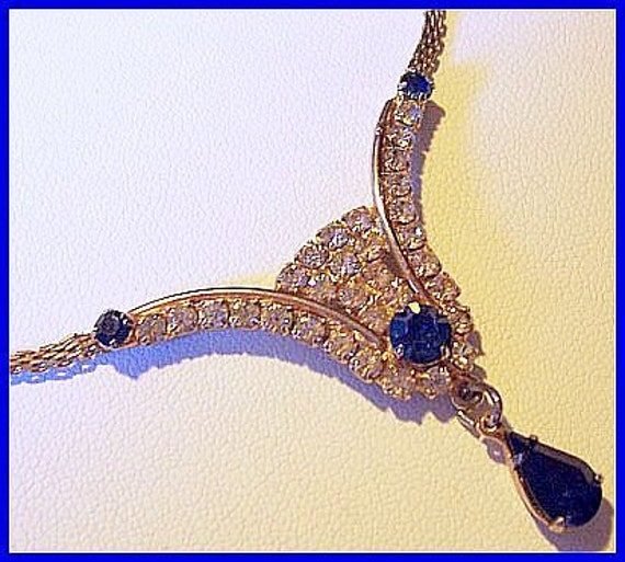 "Vintage Blue Clear Rhinestone Fancy Bib Necklace Choker w Gold Metal 16"" EX"