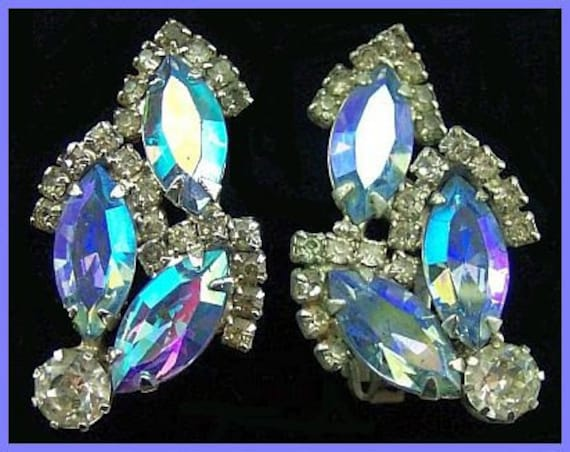 "Vintage SIGNED WEISS Earrings Clip On Style Big Blue Clear Rhinestones & Silver Metal 1.5"" EX"