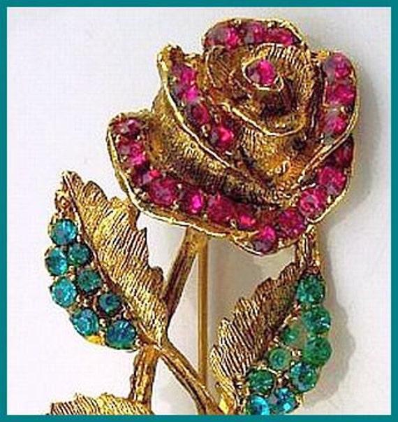 """Vintage Rose Flower Brooch Pin Pink & Teal Green Rhinestones Gold Metal 2.5"""" VG"""