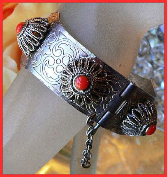 Reserved Debra: Vintage ETRUSCAN Clamper Bracelet Red Coral Stones & Silver Metal Hinged Pin Clasp