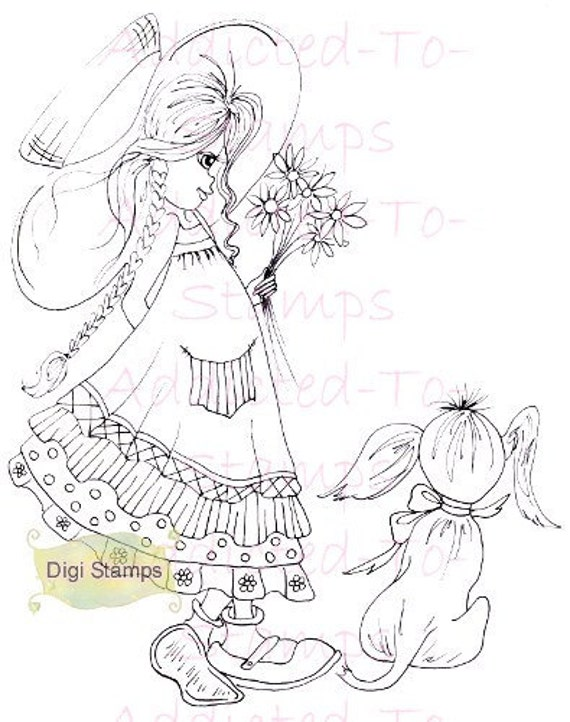 INSTANT DOWNLOAD Digi Stamps Lil Ragamuffin Justina & Frankie By Sherri Baldy Big Eye Art