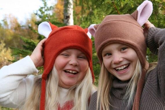 PDF sewing pattern - Fleece hat pattern - Vaappi's hat -  fox, cat, aviator