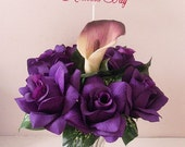 Purple Passion SILK FLOWER PENS, Mother's Day Silk Flowers, Beautiful Artificial Flowers
